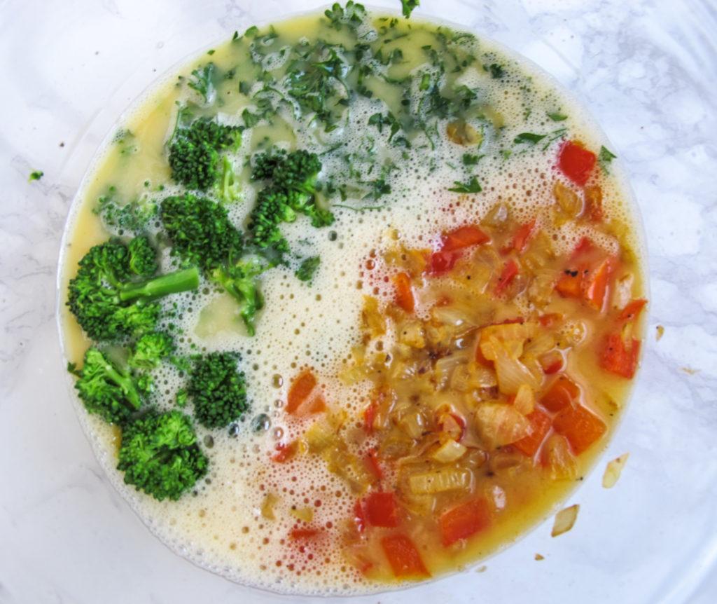 Egg Frittata, red pepper, onion, broccoli