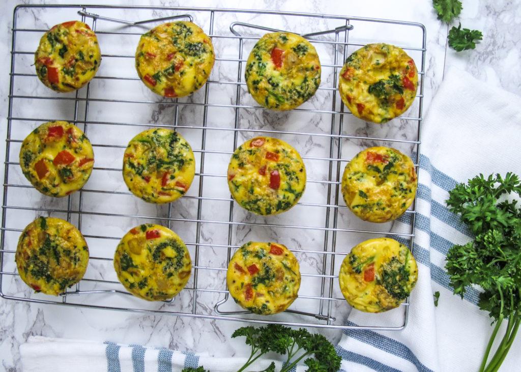 Frittata Cups, Eggs, Veggies, Onion, Red Pepper,