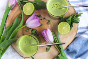 Lemon, lime, cilantro, cucumber, kale, pear