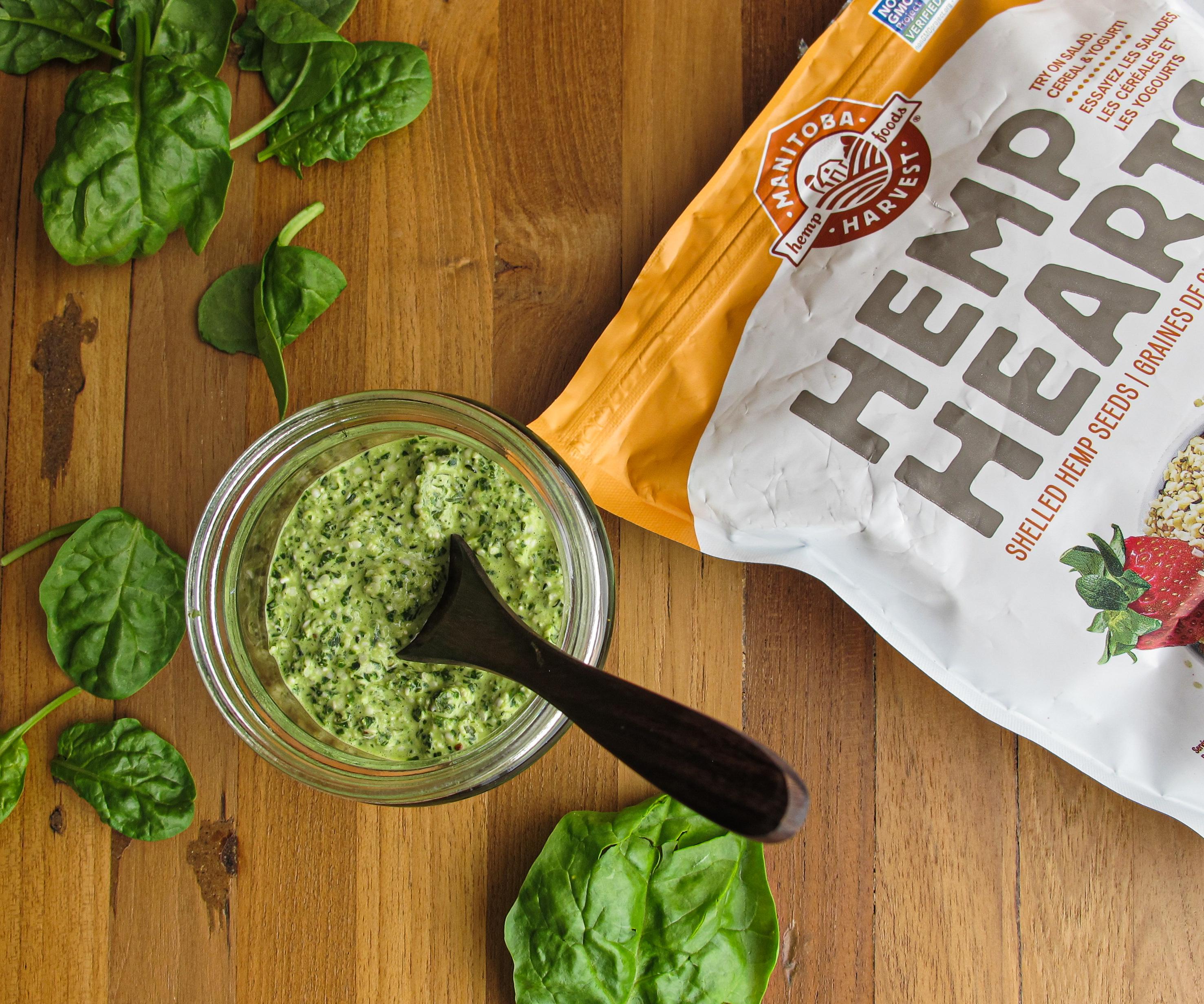 Nut-Free Pesto, Basil, Spinach, Hemp Hearts