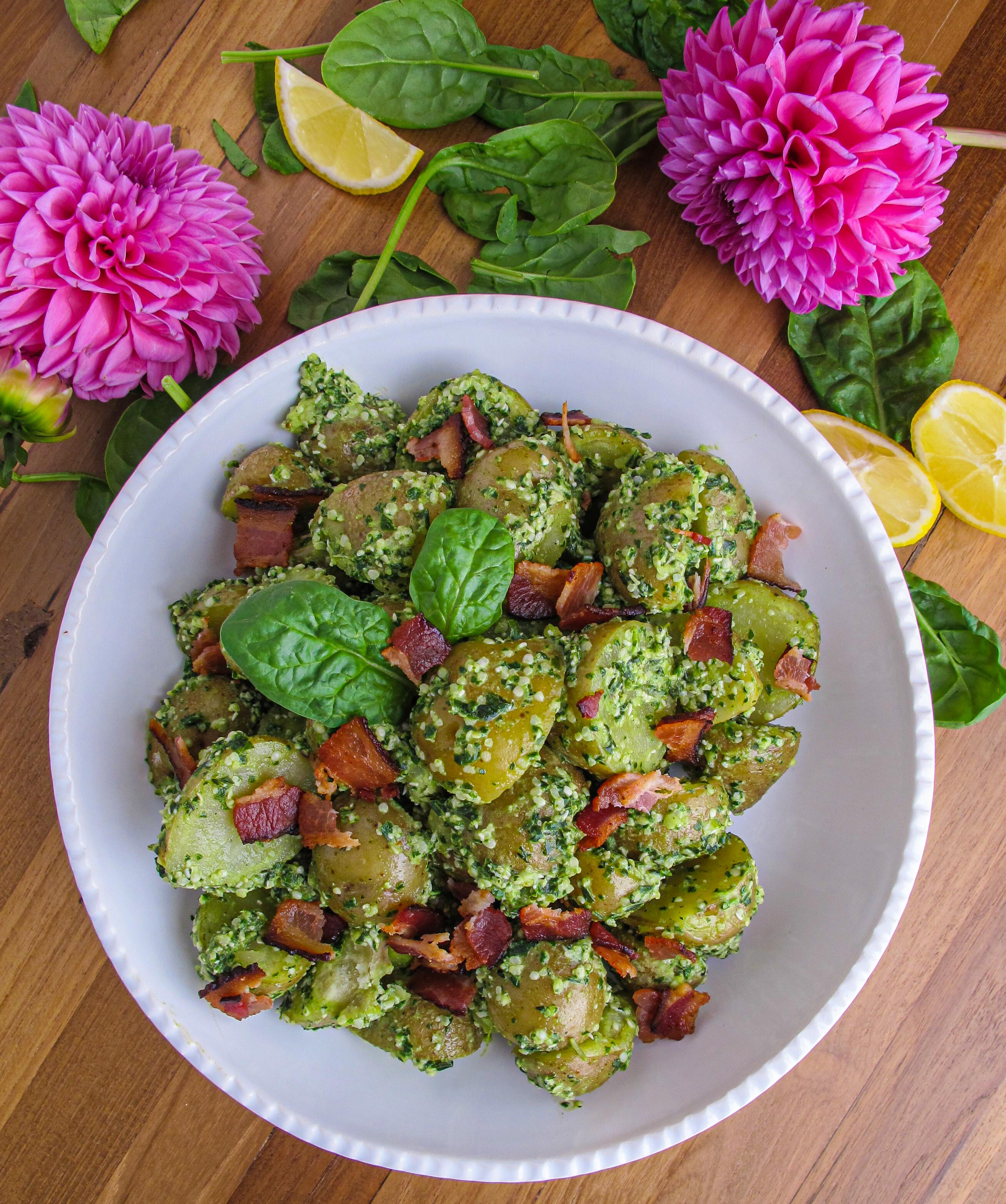 Nut-Free Pesto, Bacon, Potato Salad, Hemp Hearts, Spinach, Basil