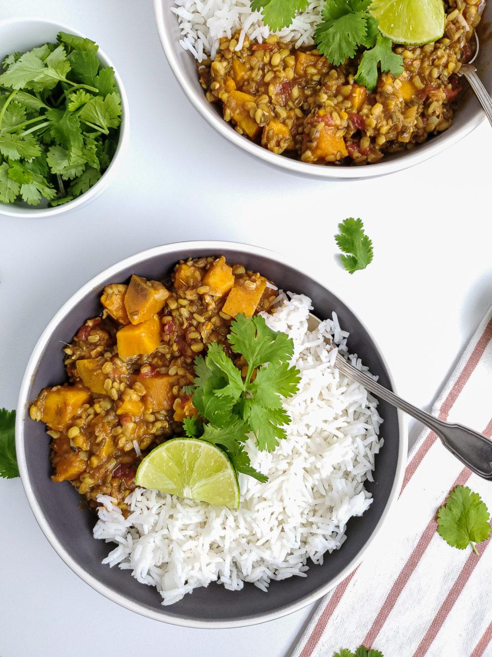 Spicy Sweet Potato Mung Bean Dal