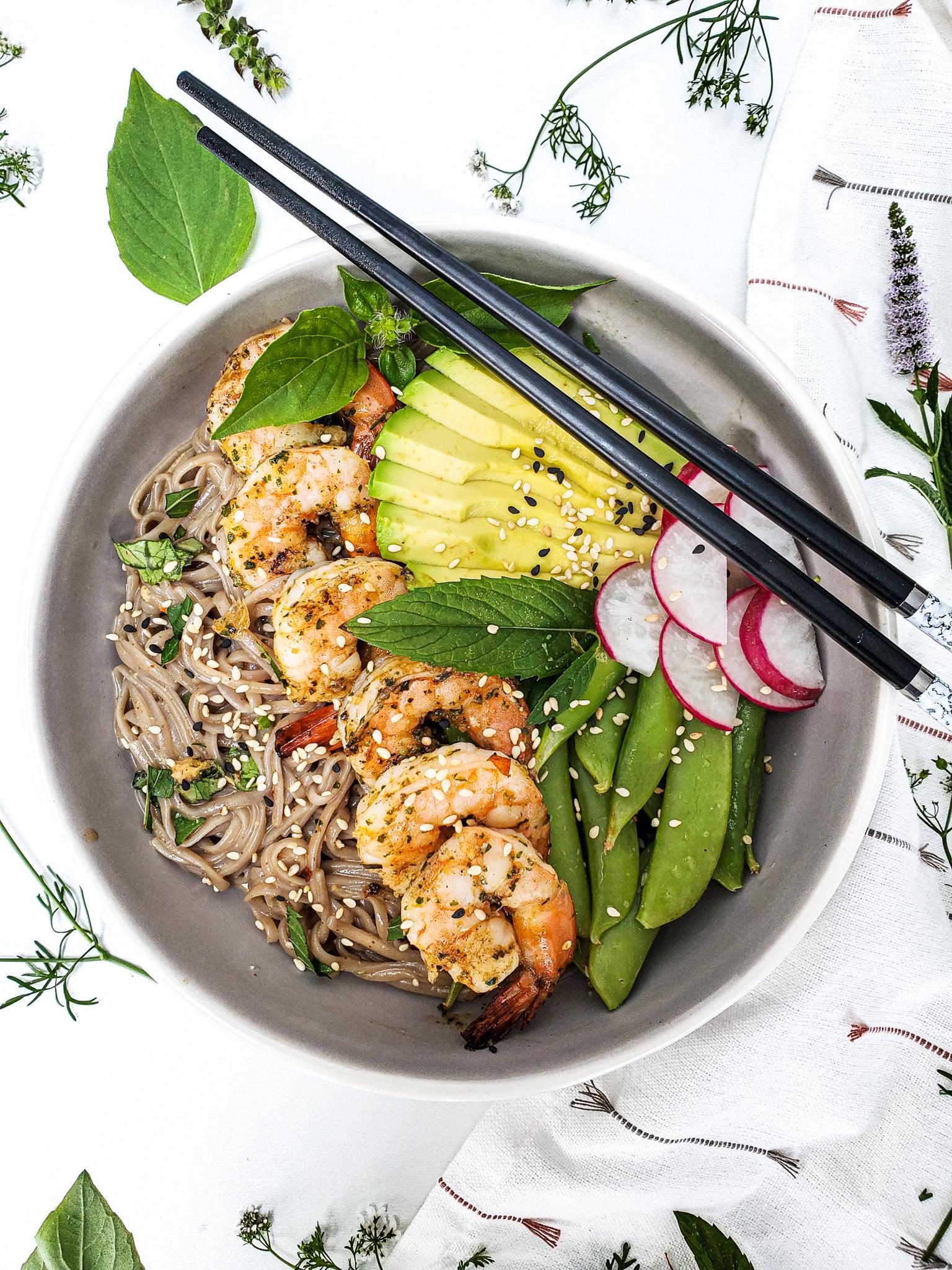 Shrimp Soba Noodle Salad