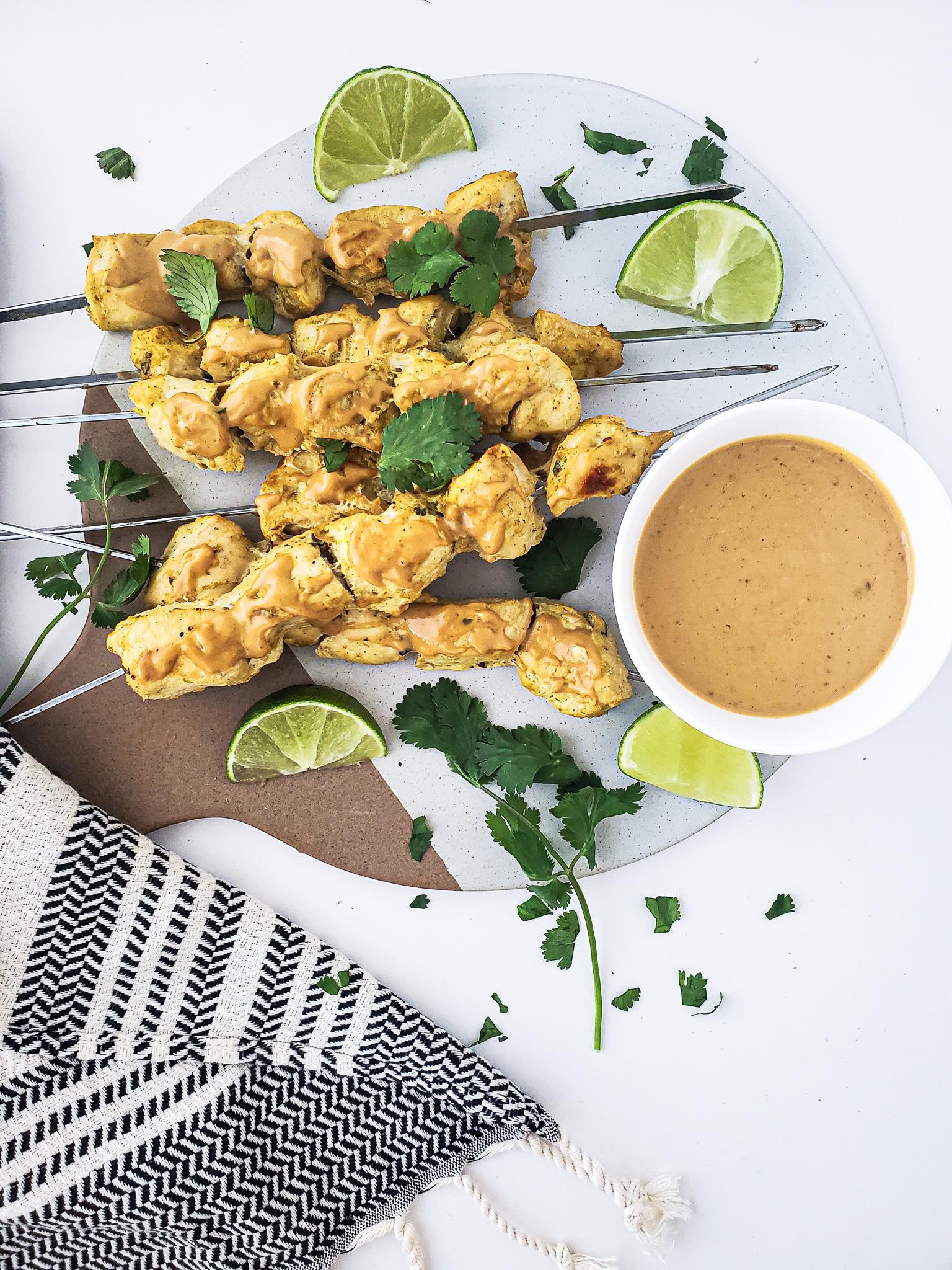 Thai Chicken Satay & Healthy Peanut Sauce