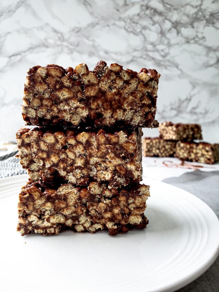 No Bake Chocolate Rice Crispy Squares