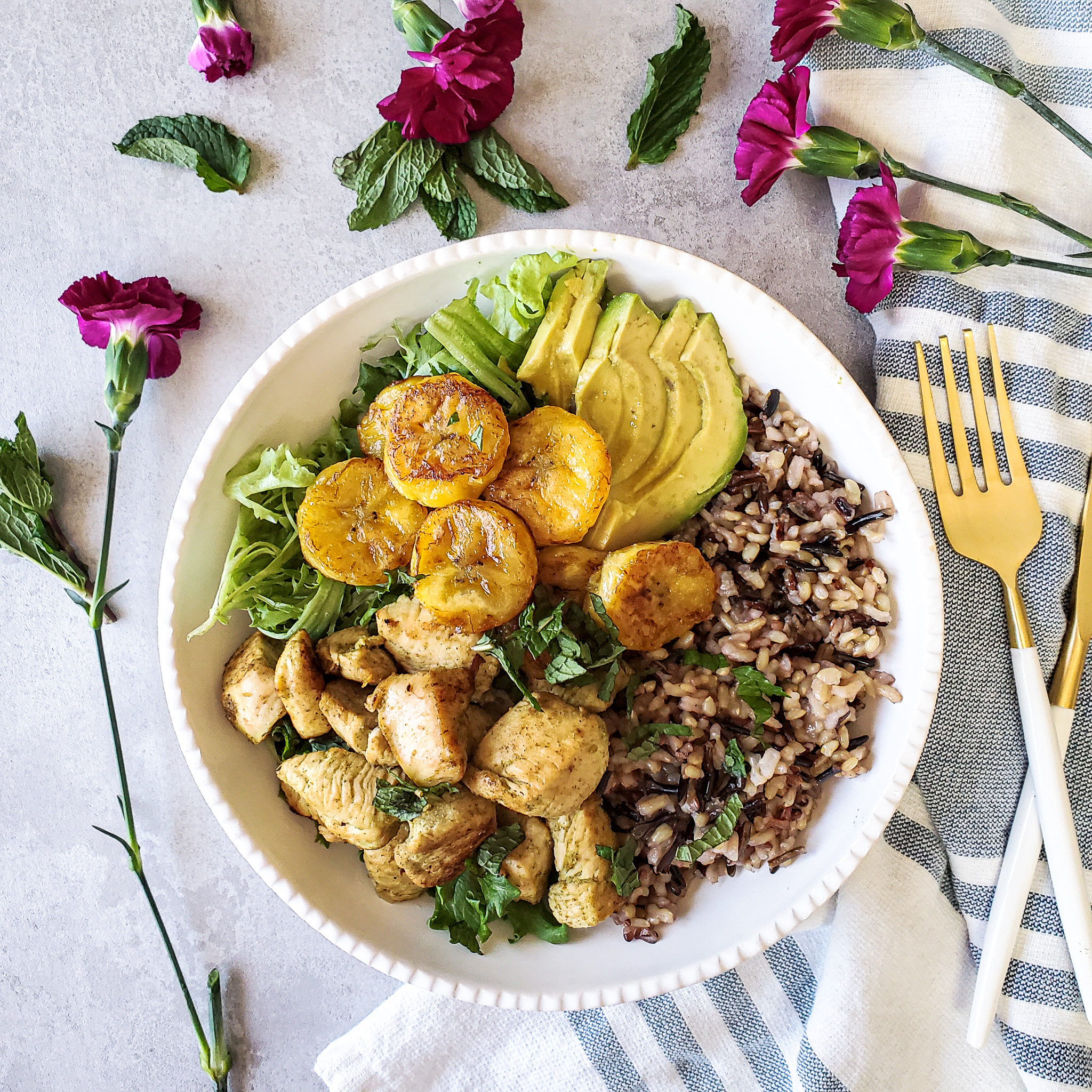 Cuban Mojo Chicken Bowls + Plantains